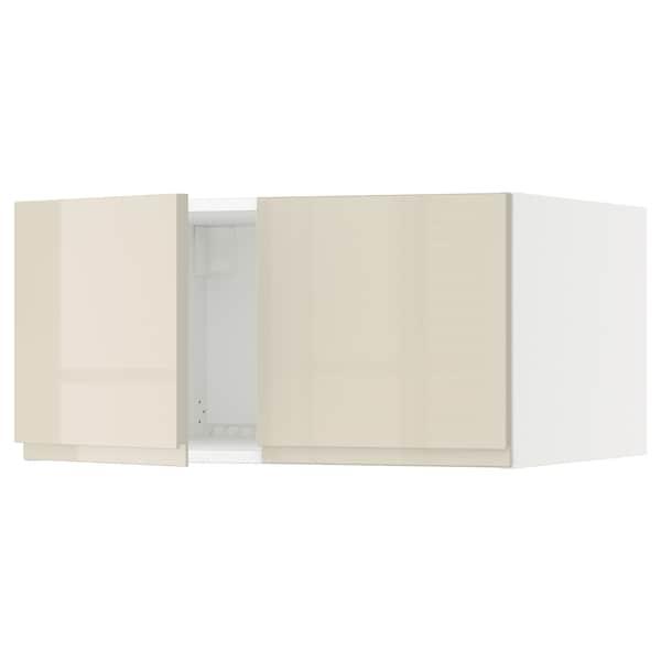 "SEKTION Top cab f fridge/freezer w 2 doors, white/Voxtorp high-gloss light beige, 30x24x15 """