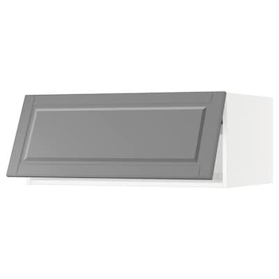 "SEKTION Top cabinet for fridge/freezer, white/Bodbyn gray, 36x24x15 """