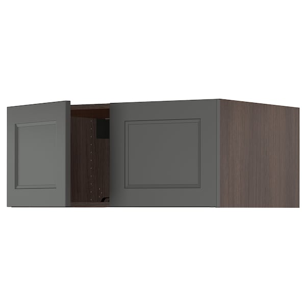 SEKTION Top cabinet for fridge w/2 doors, brown/Axstad dark gray, 36x24x15 ""