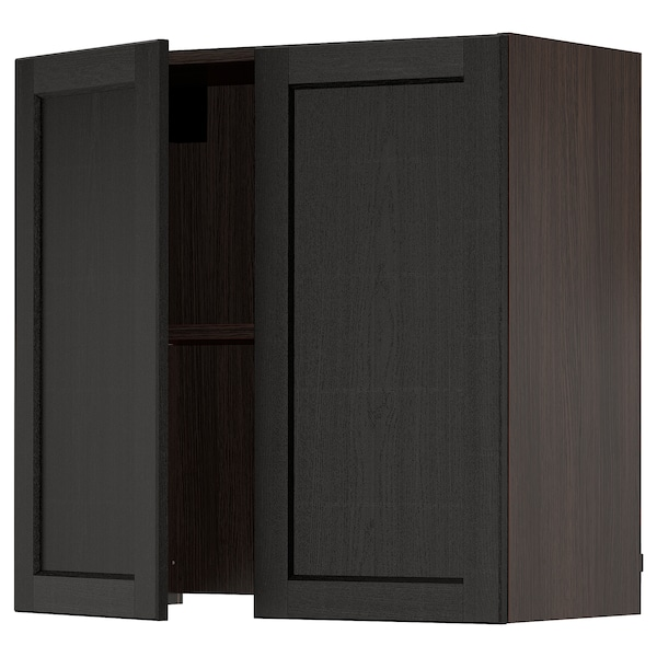 """SEKTION Wall cab w built-in extractor hood, brown/Lerhyttan black stained, 30x15x30 """""""