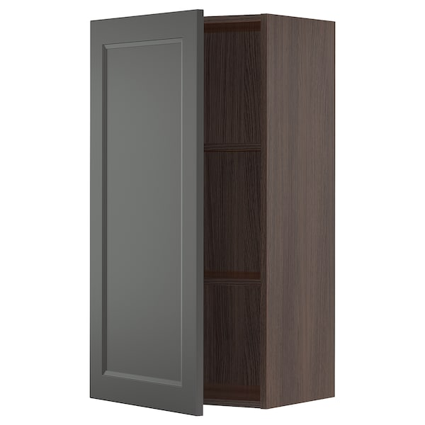 "SEKTION Wall cabinet, brown/Axstad dark gray, 21x15x40 """