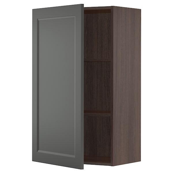 "SEKTION Wall cabinet, brown/Axstad dark gray, 24x15x40 """