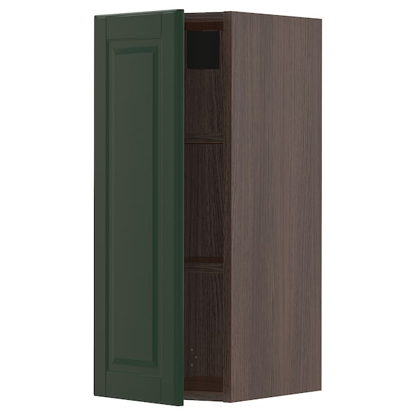 "SEKTION Wall cabinet, brown/Bodbyn dark green, 12x15x30 """