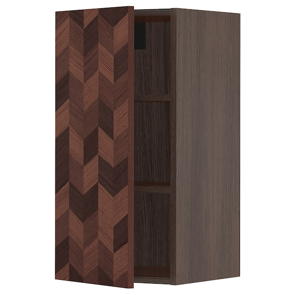 """SEKTION Wall cabinet, brown Hasslarp/brown left-handed, 15x15x30 """""""