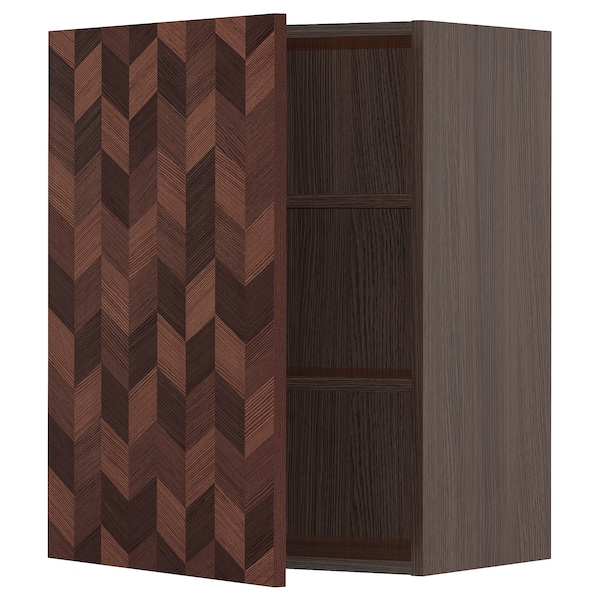 """SEKTION Wall cabinet, brown Hasslarp/brown patterned, 24x15x30 """""""