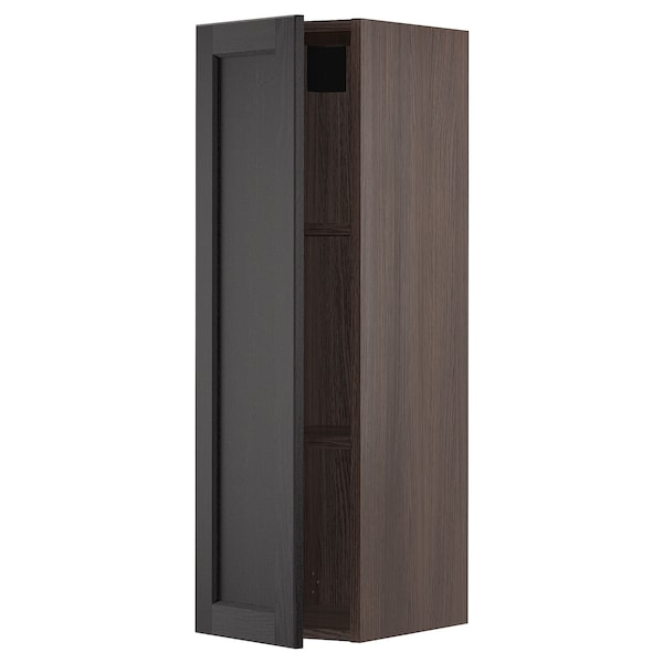 """SEKTION Wall cabinet, brown/Lerhyttan black stained, 12x15x40 """""""