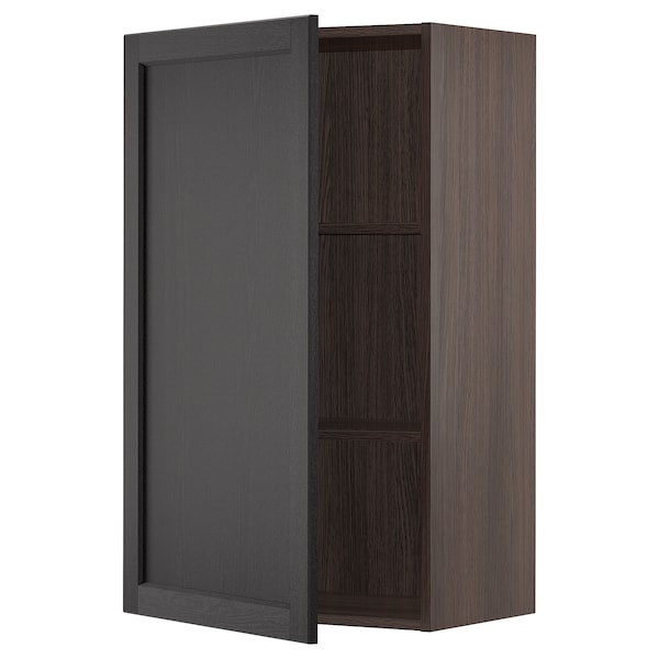 """SEKTION Wall cabinet, brown/Lerhyttan black stained, 24x15x40 """""""