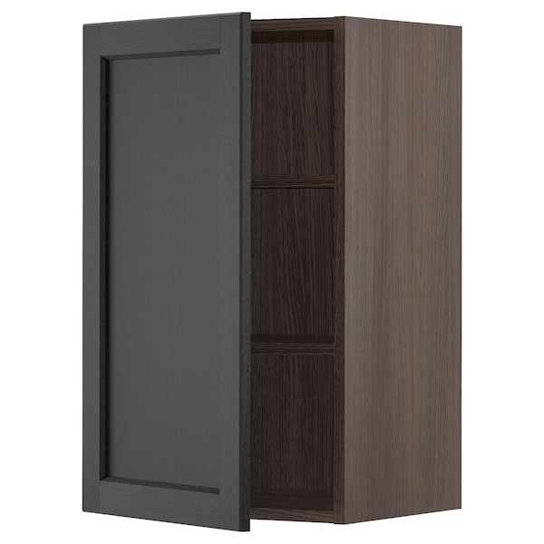 """SEKTION Wall cabinet, brown/Lerhyttan black stained, 18x15x30 """""""