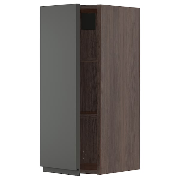 SEKTION Wall cabinet, brown/Voxtorp dark gray, 12x15x30 ""