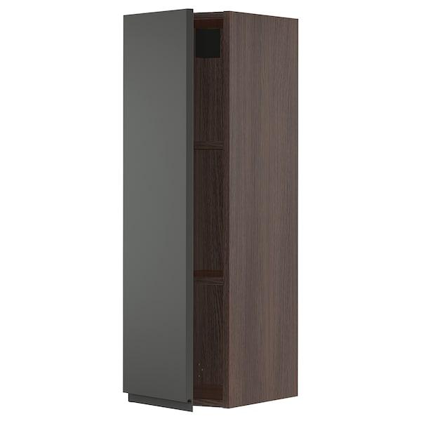 """SEKTION Wall cabinet, brown/Voxtorp dark gray, 12x15x40 """""""
