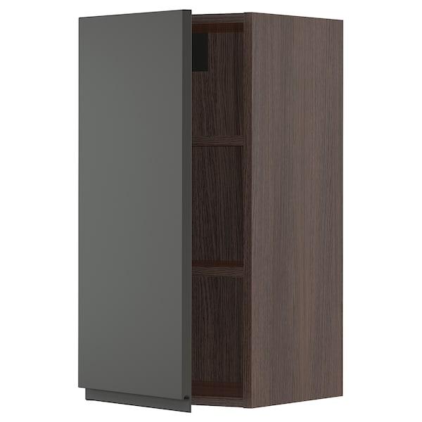 """SEKTION Wall cabinet, brown/Voxtorp dark gray, 15x15x30 """""""