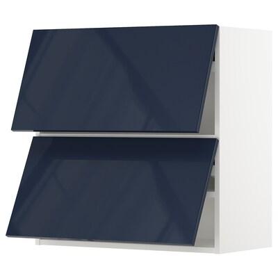 "SEKTION Wall cabinet horizontal w 2 doors, white/Järsta black-blue, 30x15x30 """