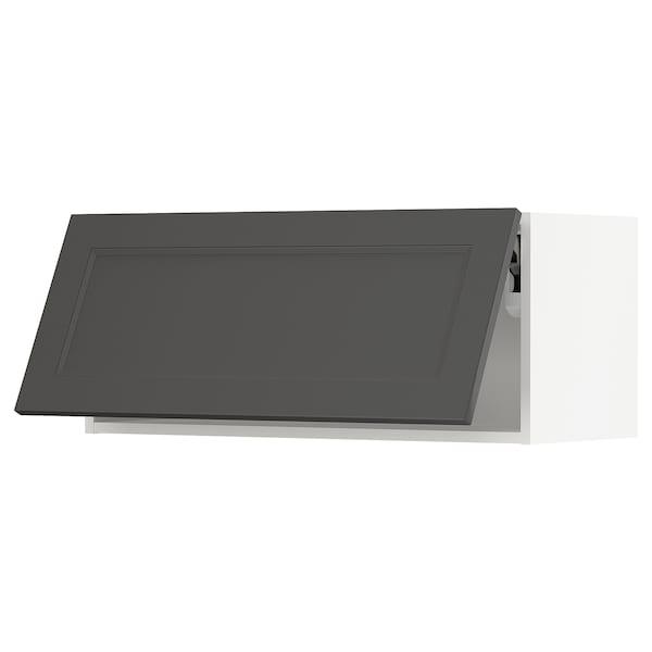"SEKTION Wall cabinet horizontal w push-open, white/Axstad dark gray, 36x15x15 """