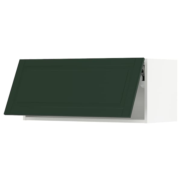 "SEKTION Wall cabinet horizontal, white/Bodbyn dark green, 36x15x15 """