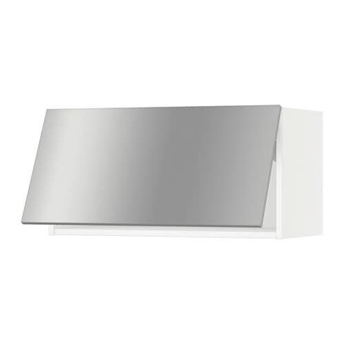 Sektion wall cabinet horizontal white grevsta stainless steel 30x15x15 q - Ikea rangement mural ...