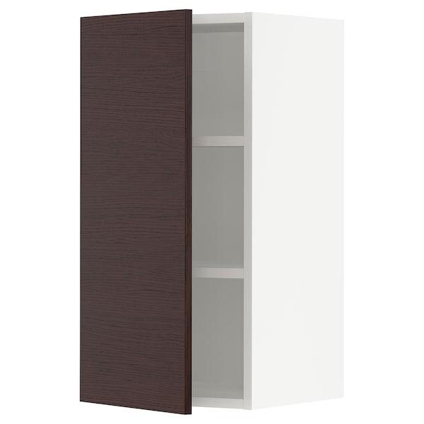 """SEKTION Wall cabinet, white Askersund/dark brown ash effect, 15x15x30 """""""