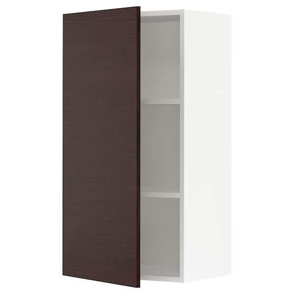 SEKTION Wall cabinet, white Askersund/dark brown ash effect, 21x15x40 ""