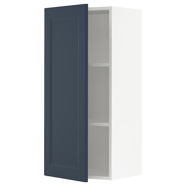 SEKTION Wall cabinet, white Axstad/matte blue, 18x15x40 ""