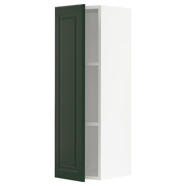 SEKTION Wall cabinet, white/Bodbyn dark green, 12x15x40 ""