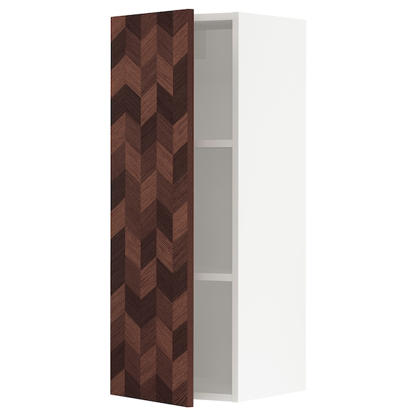 """SEKTION Wall cabinet, white Hasslarp/brown left-handed, 15x15x40 """""""