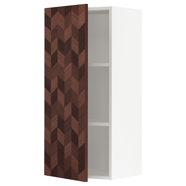 """SEKTION Wall cabinet, white Hasslarp/brown patterned, 18x15x40 """""""