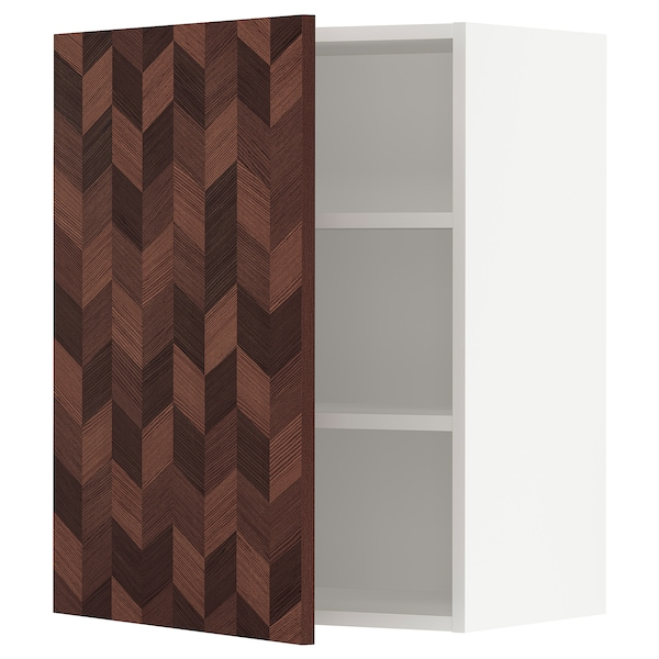 """SEKTION Wall cabinet, white Hasslarp/brown patterned, 24x15x30 """""""