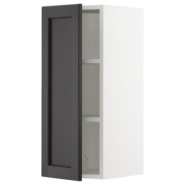 "SEKTION Wall cabinet, white/Lerhyttan black stained, 12x15x30 """