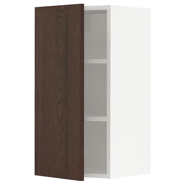 "SEKTION Wall cabinet, white/Sinarp brown, 15x15x30 """