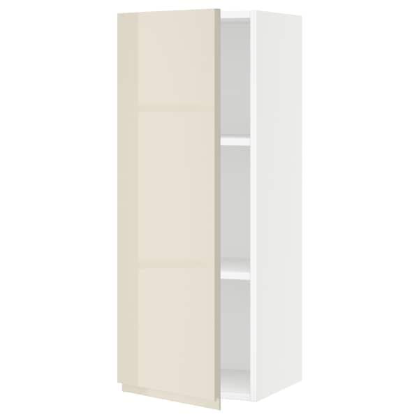 "SEKTION Wall cabinet, white/Voxtorp high-gloss light beige, 15x15x40 """