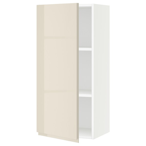SEKTION Wall cabinet, white/Voxtorp high-gloss light beige, 18x15x40 ""