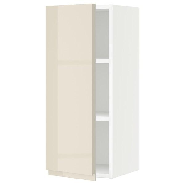 "SEKTION Wall cabinet, white/Voxtorp high-gloss light beige, 12x15x30 """