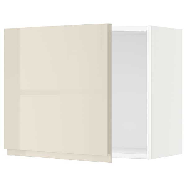 SEKTION Wall cabinet, white/Voxtorp high-gloss light beige, 24x15x20 ""