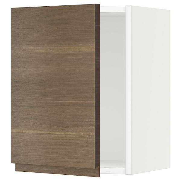 "SEKTION Wall cabinet, white/Voxtorp walnut effect, 15x15x20 """