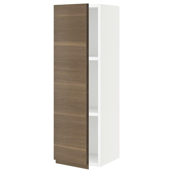 "SEKTION Wall cabinet, white/Voxtorp walnut effect, 12x15x40 """