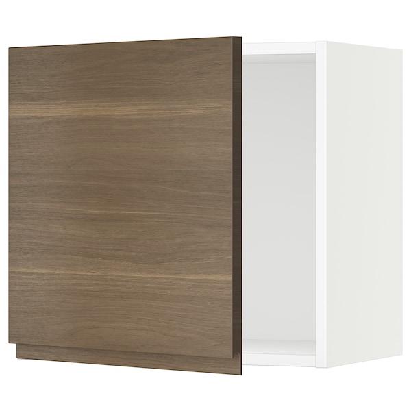 "SEKTION Wall cabinet, white/Voxtorp walnut effect, 21x15x20 """