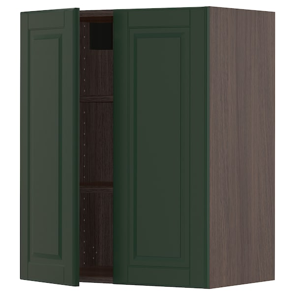 SEKTION Wall cabinet with 2 doors, brown/Bodbyn dark green, 24x15x30 ""