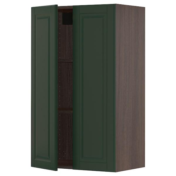 "SEKTION Wall cabinet with 2 doors, brown/Bodbyn dark green, 24x15x40 """
