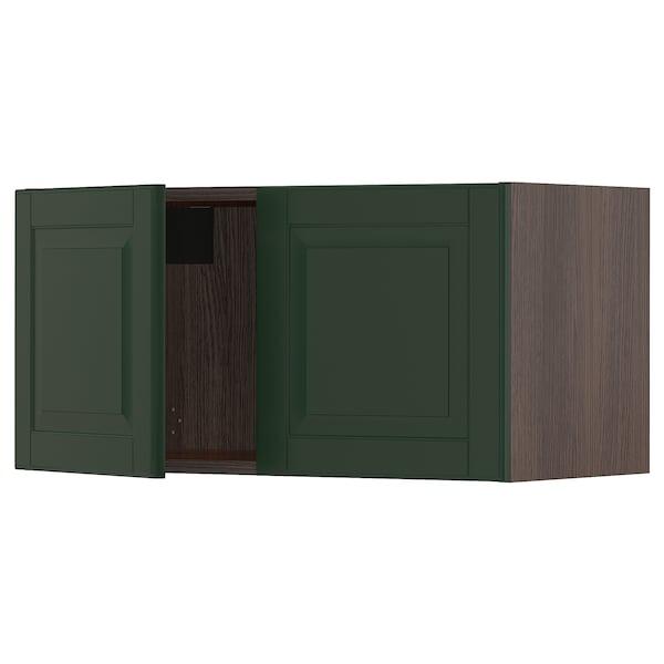 "SEKTION Wall cabinet with 2 doors, brown/Bodbyn dark green, 30x15x15 """