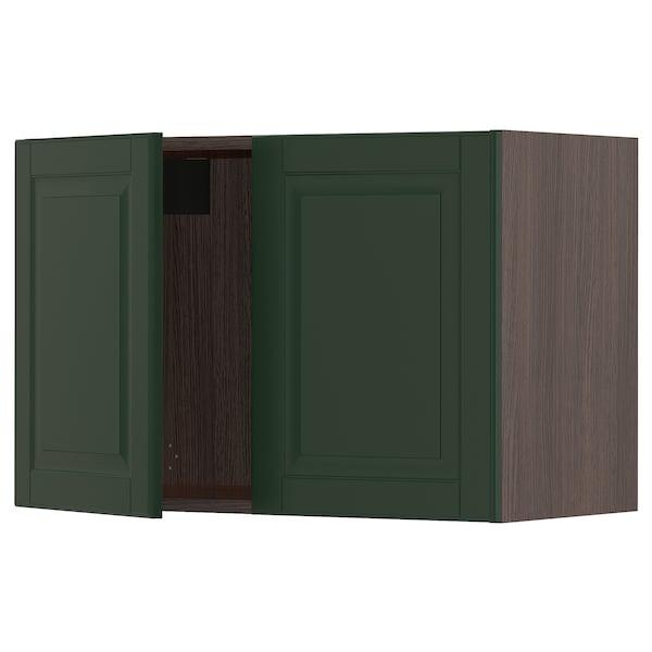 "SEKTION Wall cabinet with 2 doors, brown/Bodbyn dark green, 30x15x20 """