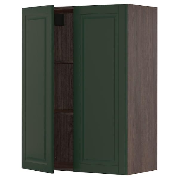 "SEKTION Wall cabinet with 2 doors, brown/Bodbyn dark green, 30x15x40 """