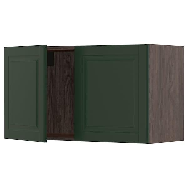 "SEKTION Wall cabinet with 2 doors, brown/Bodbyn dark green, 36x15x20 """