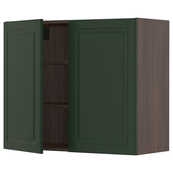 SEKTION Wall cabinet with 2 doors, brown/Bodbyn dark green, 36x15x30 ""