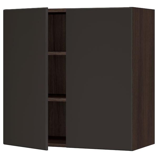 """SEKTION Wall cabinet with 2 doors, brown/Kungsbacka anthracite, 30x15x30 """""""