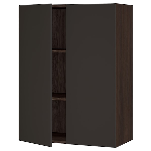 """SEKTION Wall cabinet with 2 doors, brown/Kungsbacka anthracite, 30x15x40 """""""