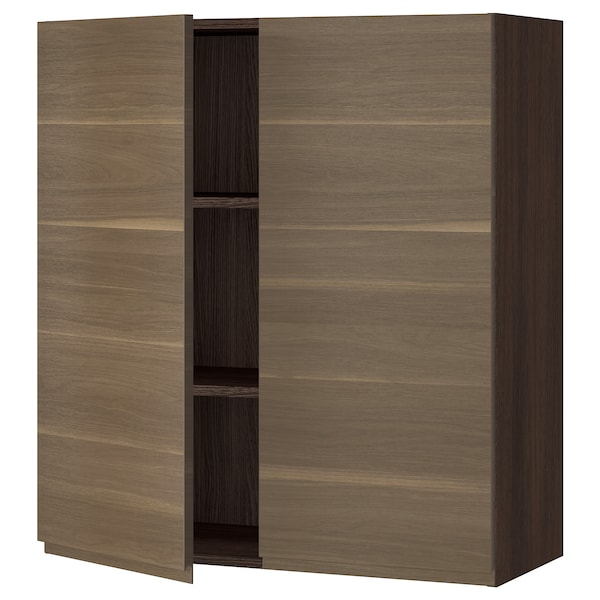 SEKTION Wall cabinet with 2 doors, brown/Voxtorp walnut effect, 36x15x40 ""