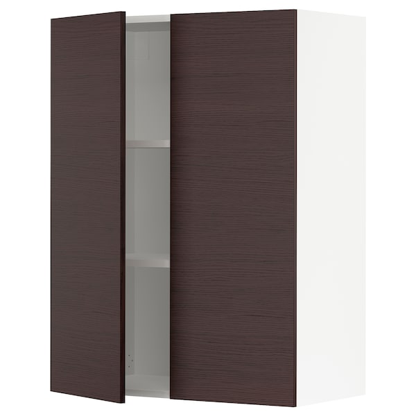 SEKTION Wall cabinet with 2 doors, white Askersund/dark brown ash effect, 30x15x40 ""
