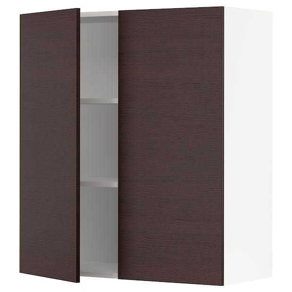 """SEKTION Wall cabinet with 2 doors, white Askersund/dark brown ash effect, 36x15x40 """""""