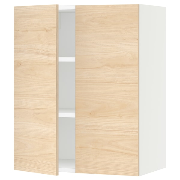 """SEKTION Wall cabinet with 2 doors, white/Askersund light ash effect, 24x15x30 """""""