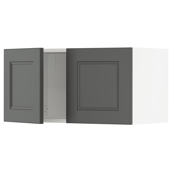 SEKTION Wall cabinet with 2 doors, white/Axstad dark gray, 30x15x15 ""