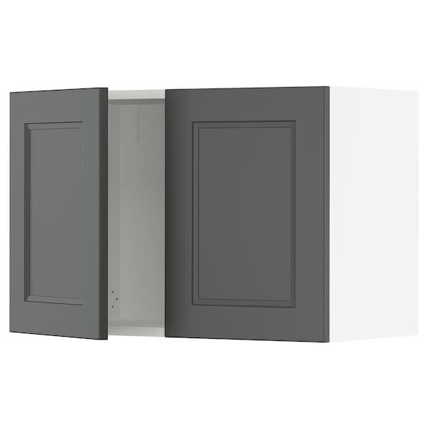 "SEKTION Wall cabinet with 2 doors, white/Axstad dark gray, 30x15x20 """
